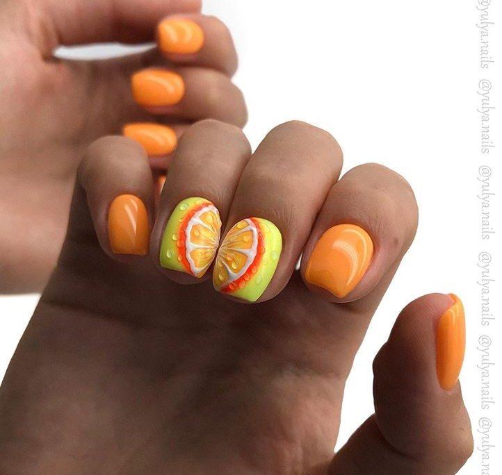 Яркие идеи апельсинового маникюра