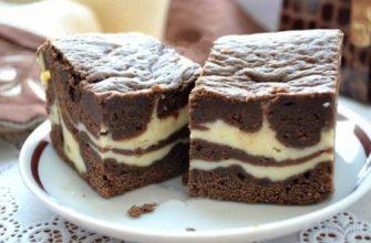 Мраморный творожно - шоколадный десерт.